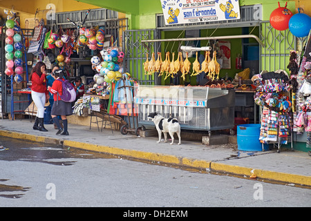 Poultry and meat street trader, Huaraz In Peru, South America. - Stock Photo