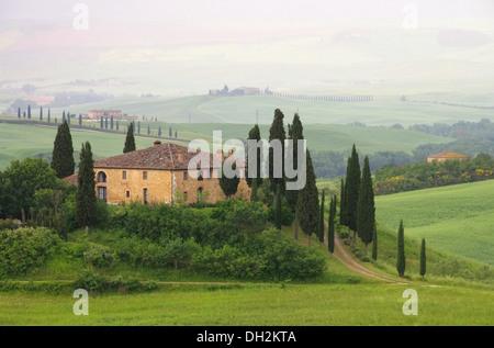 Toskana Haus im Nebel - Tuscany house in fog 10 - Stock Photo
