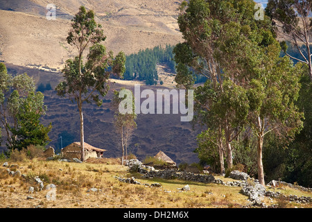 Traditional adobe settlement in the Huascaran National Park in the Andes, South America. - Stock Photo