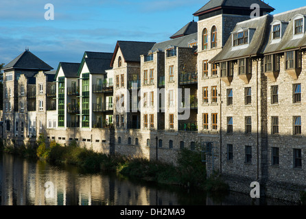 Riverside Hotel & Leisure Centre, and Kentgate development, overlooking River Kent, Kendal, Cumbria, England UK - Stock Photo