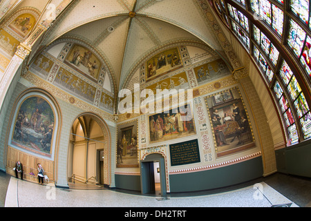 Netherlands, Amsterdam, Rijksmuseum or National Museum. Front hall. Visitors. 17th century. - Stock Photo