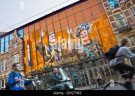 Netherlands, Amsterdam, 30 April 2013, Corronation, succession, King Willem-Alexander. Cyclists in front of De La - Stock Photo