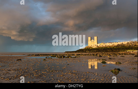 St.Mary's Church at Reculver; on the North Kent coast on a stormy day. - Stock Photo