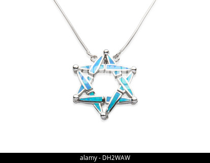 Beautiful silver necklace decorated by turquoise in islamic symbol shape - Stock Photo