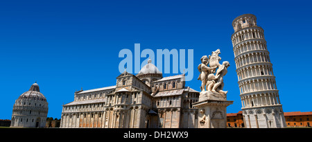 The Duomo & Leaning Tower of Pisa, Italy - Stock Photo
