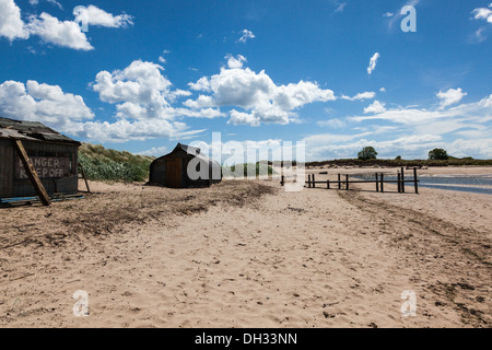 Nordic style huts on the beach at Alnmouth, Northumberland, UK - Stock Photo