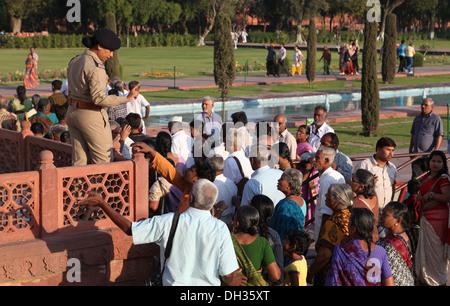 Female security at the Taj Mahal, Agra, Uttar Pradesh, India, Asia - Stock Photo