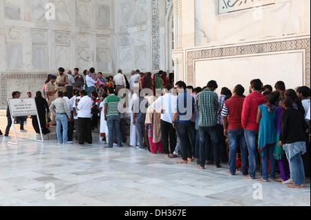 People queuing at the Taj Mahal, Agra, Uttar Pradesh, India, Asia - Stock Photo