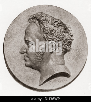 Marie-Henri Beyle, 1783 –1842, better known by his pen name Stendhal. 19th-century French writer. - Stock Photo