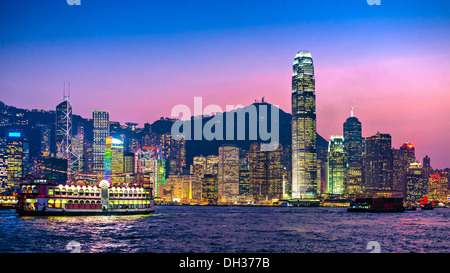 Hong Kong skyline at Victoria Harbor. - Stock Photo