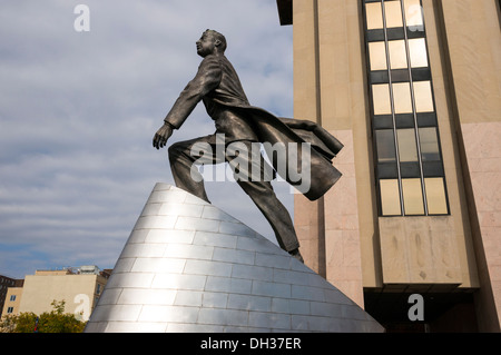Statue of Adam Clayton Powell, Jr. in Harlem in New York City - Stock Photo