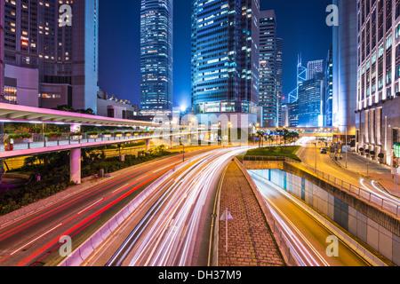 Hong Kong Island financial district cityscape. - Stock Photo