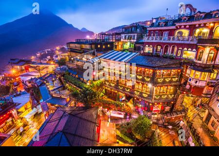 Hillside teahouses in Jiufen, Taiwan. - Stock Photo