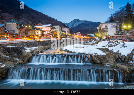 Springs in the small Town of Shibu, Nagano, Japan. The town is famed for its hot springs. - Stock Photo