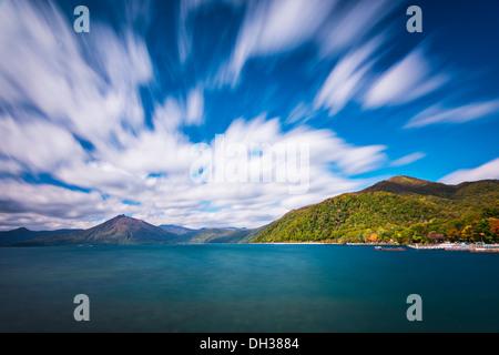 Lake Shikotsu at Shikotsu Toya National Park in Hokkaido, Japan. - Stock Photo