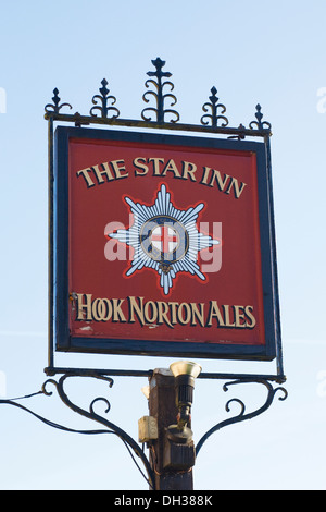 Sign for The Star Inn in Sulgrave, Oxfordshire. - Stock Photo