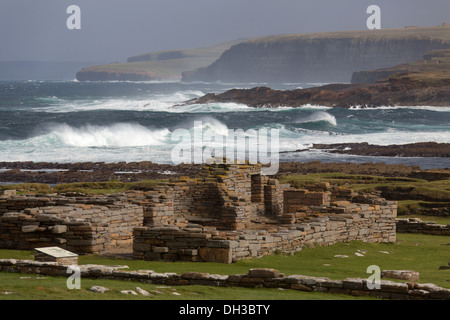 Islands of Orkney, Scotland. Low tide view from Orkney's mainland to the tidal island, Brough of Birsay. - Stock Photo