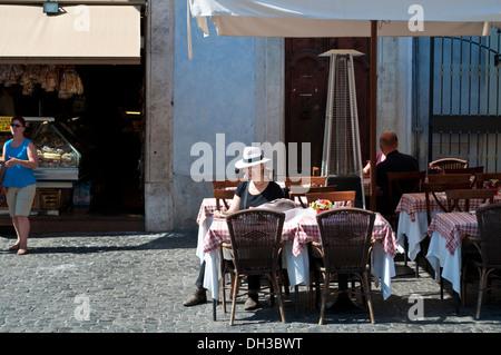 Restaurant in Piazza della Rotonda, Rome, Italy - Stock Photo