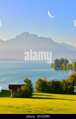 Forggensee lake, near Fussen, Tannheim Mountains, moon, composing, Ostallgaeu, Allgaeu, Bavaria - Stock Photo