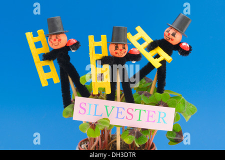 Chimneysweep figurines as lucky charms for the new year - Stock Photo