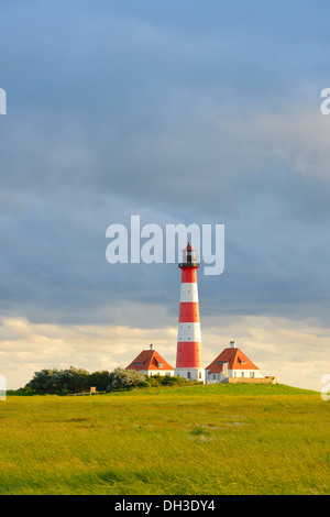 Westerheversand Lighthouse, Westerhever, North Sea, North Frisia, Schleswig-Holstein, northern Germany - Stock Photo