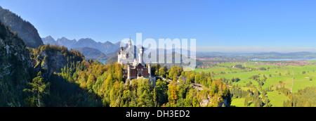 Schloss Neuschwanstein castle, Allgäu, Schwangau, Ostallgäu, Allgäu, Schwabia, Bavaria, Germany - Stock Photo