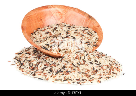 Wild rice and bamboo bowl - Stock Photo