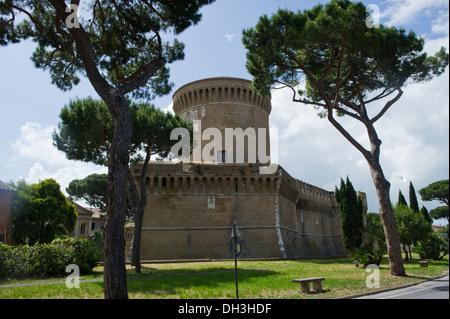 Italy. Europa. Lazio. Roma Ostia Antica  castle Pope Giulio II - Stock Photo