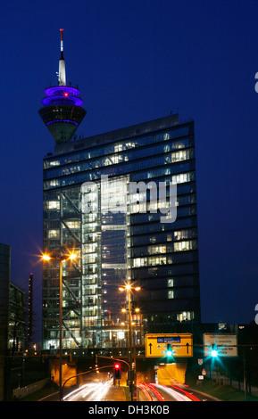 Stadttor, City Gate skyscraper, at night, Duesseldorf, North Rhine-Westphalia - Stock Photo