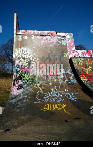 Skate park, halfpipe covered in graffiti, green belt of Cologne-Nippes, Cologne, North Rhine-Westphalia - Stock Photo