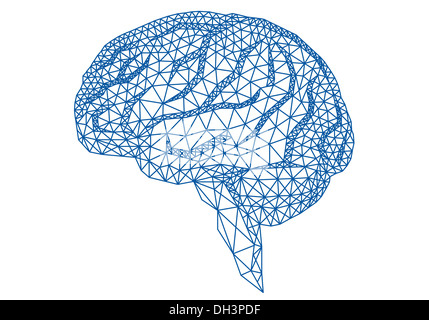 abstract blue human brain with geometric mesh pattern, vector illustration - Stock Photo