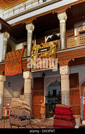Marrakesh Souk de Tapis Medina Market Carpet Carpets  Morocco - Stock Photo