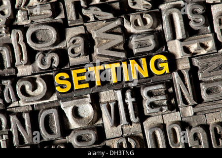 Old lead letters forming the word 'SETTING' - Stock Photo