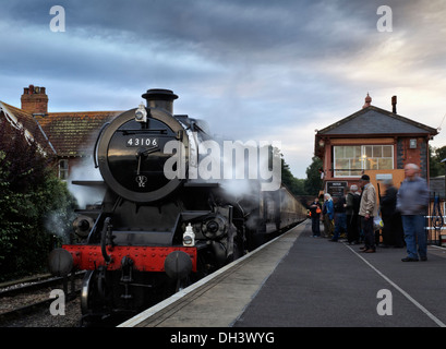 Ivatt (Mucky Duck) class 4MT number 43106 Steam Locomotive standing at Bishops Lydeard at on the West Somerset Railway - Stock Photo