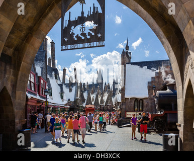 Entrance to the Wizarding World of Harry Potter, Islands of Adventure, Universal Orlando Resort, Orlando, Central - Stock Photo