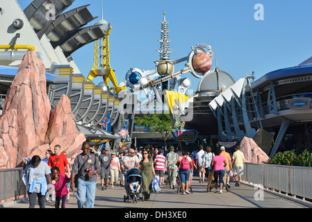 Tomorrowland at the Magic Kingdom, Disney World, Orlando Florida - Stock Photo