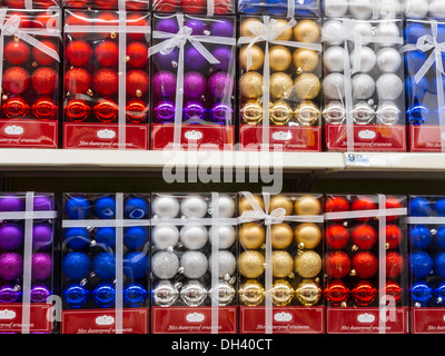 Traditional Holiday Decorations Display in Kmart, NYC - Stock Photo