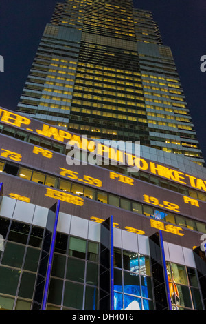News Ticker Display in Times Square, NYC - Stock Photo
