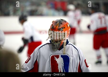 San Diego, California, USA. 19th Oct, 2013. Established in 2011, the U.S. Patriots hockey team consists of active, - Stock Photo