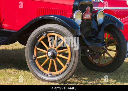Antique Car Ford Model T front wheel - Stock Photo