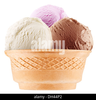 Colorful ice-creams in waffle cones. File contains working path. - Stock Photo