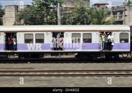 suburban local train at Mumbai Maharashtra India - Stock Photo