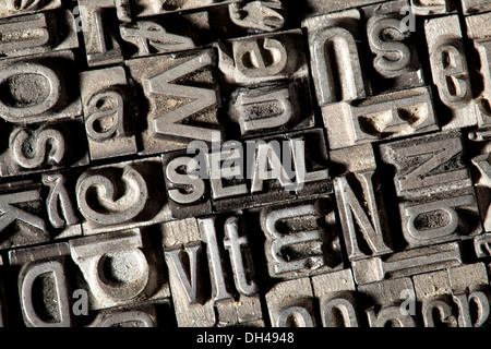 Old lead letters forming the word SEAL - Stock Photo