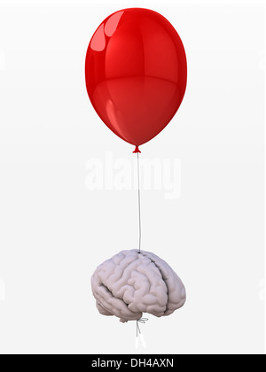 human brain tied to a red balloon that flies, 3d illustration - Stock Photo
