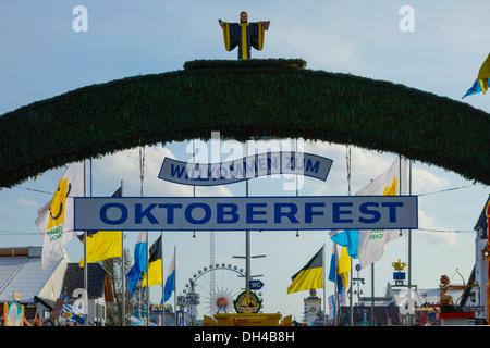 Beer Festival Oktoberfest in Munich, Bavaria, Germany - Stock Photo