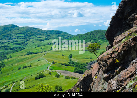 Panorama view in spring from Pietra Parcellara, Val Trebbia, Piacenza, Italy - Stock Photo