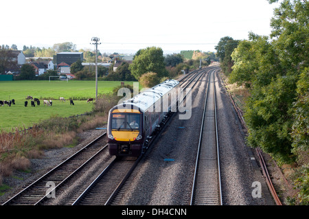 Cross Country class 170 Turbo Star train at Stoke Prior, Worcestershire, UK - Stock Photo