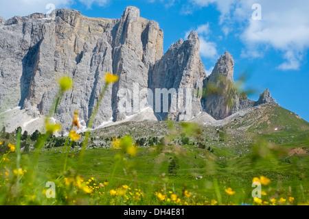 Sella mountain range from Sella pass, Dolomites, Italy - Stock Photo