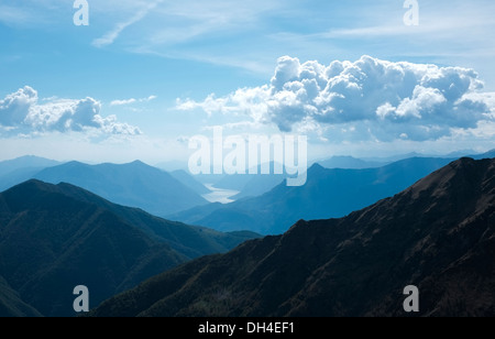 View of Lecco and Como lake from the top of the mountains, Alps Mountains, Italy - Stock Photo