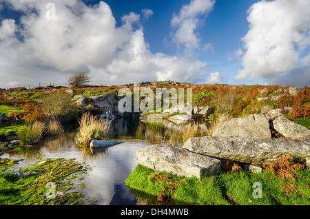 Carbilly Quarry on Bodmin Moor in Cornwall - Stock Photo